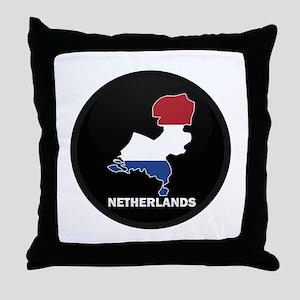 Flag Map of NETHERLANDS Throw Pillow