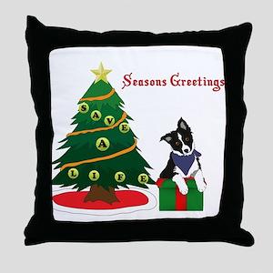 Seasons Greetings Border Collie Puppy Throw Pillow