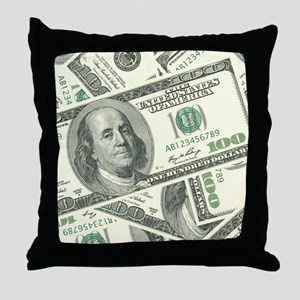 100 Dollar Bill Money Pattern Throw Pillow