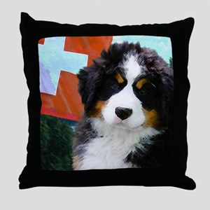 Swiss Bernese Puppy WIne Label Throw Pillow