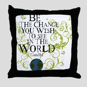 bethechange_earth_white Throw Pillow
