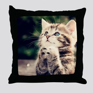 Cat Praying Throw Pillow