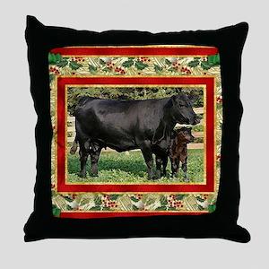 Black Angus Cow  Calf Christmas Card Throw Pillow