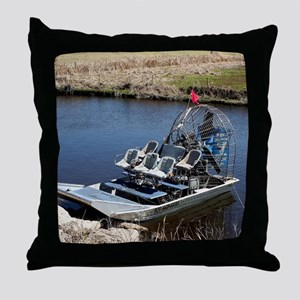 Florida swamp airboat 2 Throw Pillow