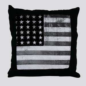American Vintage Flag Black and White Throw Pillow