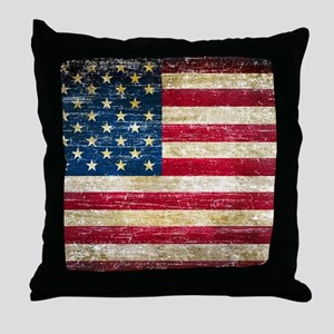 Faded American Flag Throw Pillow