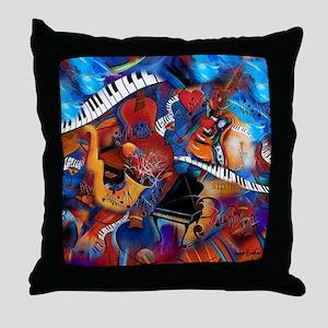 Piano Music Guitar Sax Musicial instr Throw Pillow