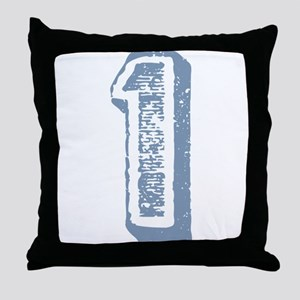 Blue Number 1 Birthday Throw Pillow