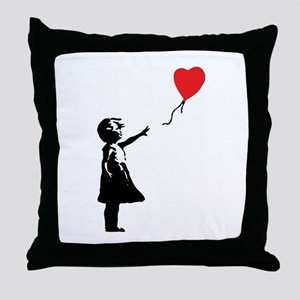 Banksy - Little Girl with Ballon Throw Pillow