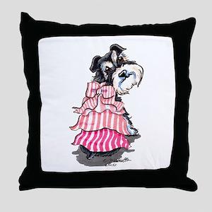 Girly Schnauzer Throw Pillow