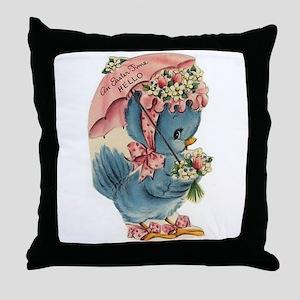 Vintage Easter Blue Bird Bonnet Throw Pillow