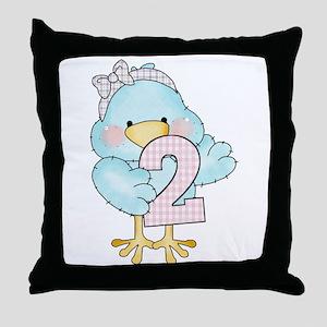 2nd Birthday Bird Throw Pillow