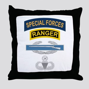 SF Ranger CIB Airborne Master Throw Pillow