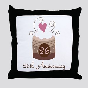 26th Anniversary Cake Throw Pillow