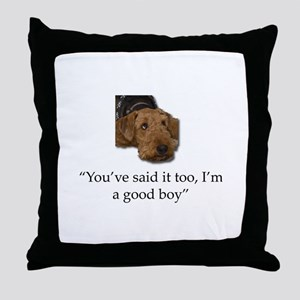 Sulking Airedale Terrier Giving Cute Throw Pillow