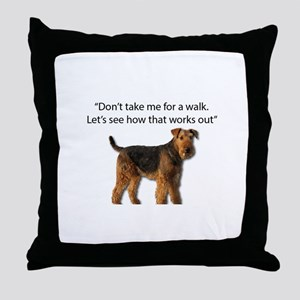 Airedale Terrier Getting Ready for Pa Throw Pillow