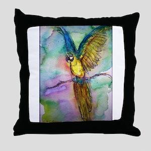 Blue/gold Macaw, parrot art! Throw Pillow