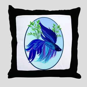 Big Blue Siamese Fighting Fis Throw Pillow