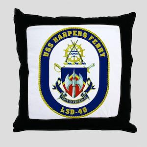 USS Harpers Ferry LSD 49 Throw Pillow