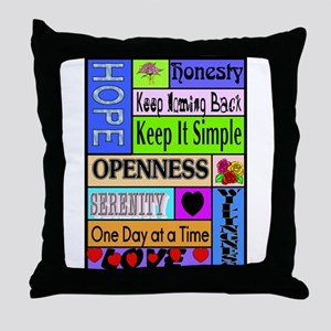 COLORED BLOCK SLOGANS Throw Pillow
