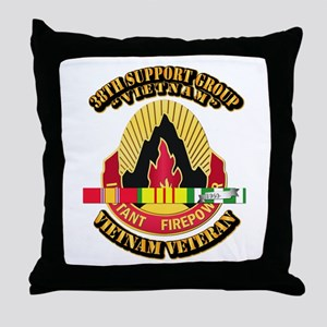 38th Support Group w SVC Ribbon Throw Pillow