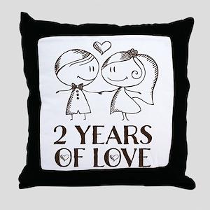2nd Anniversary chalk couple Throw Pillow