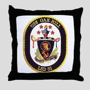 USS Oak Hill LSD 51 Throw Pillow