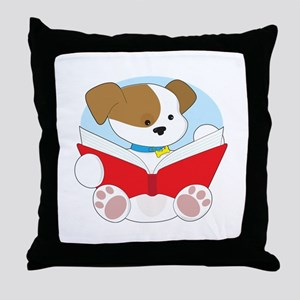 Cute Puppy Reading Throw Pillow