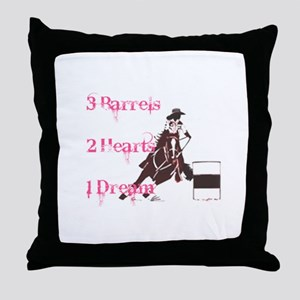 3 Barrels, 2 Hearts, 1 Dream Throw Pillow