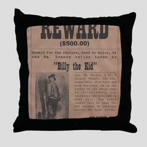 Billy the Kid Wanted Poster by McMinn Throw Pillow