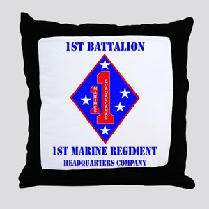 HQ Coy - 1st Marine Regiment with Text Throw Pillo