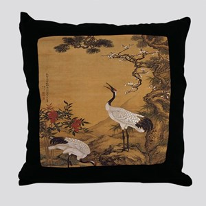 cranes-woodblock-print-iPad-case Throw Pillow
