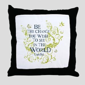 Gandhi Vine - Be the change - Blue & Green Throw P