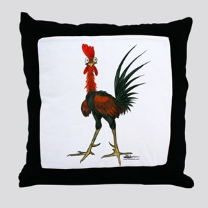 Crazy Rooster Throw Pillow
