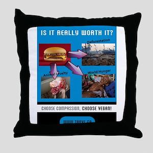 Choose Compassion, Choose Vegan Throw Pillow