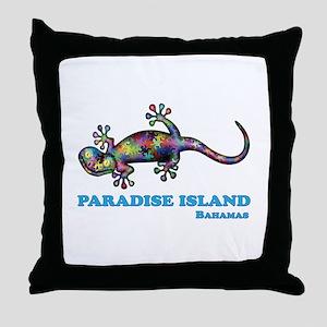 Paradise Island Gecko Throw Pillow