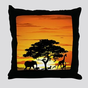Wild Animals on African Savannah Suns Throw Pillow
