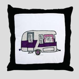 Cutie Purple VIntage Trailer Throw Pillow