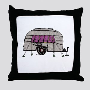 Vintage Airstream Camper Trailer Art Throw Pillow