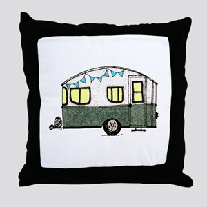 Vintage Camper Trailer with flags Throw Pillow