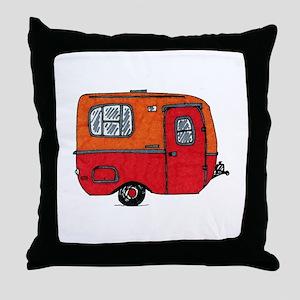 Cute orange boler camper Throw Pillow
