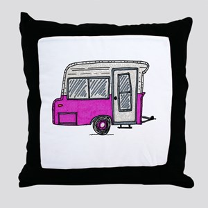 pinky vintage camper trailer Throw Pillow