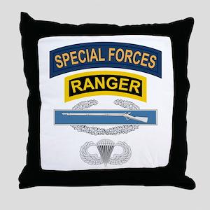 SF Ranger CIB Airborne Throw Pillow