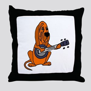 Bloodhound Playing Banjo Throw Pillow