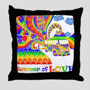 Retro Rainbow Hippie Van Throw Pillow