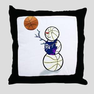 Basketball Snowman Throw Pillow