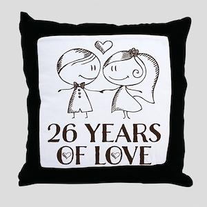 26th Anniversary chalk couple Throw Pillow