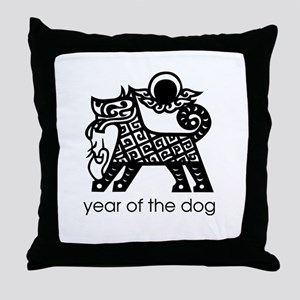 Year of the Dog B and W Throw Pillow