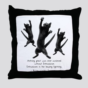 Enthusiastic Cats Throw Pillow