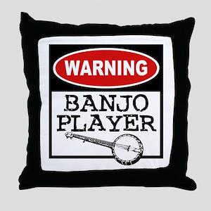 Warning Banjo Player Throw Pillow